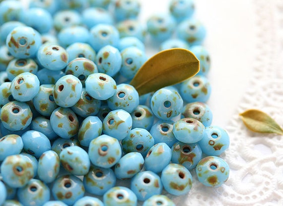 Czech spacers blue Picasso Glass beads, faceted - 3x5mm - 50 Pc - 0147