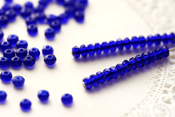 Cobalt blue Czech Glass beads - faceted tiny Spacers - 2x3mm - 50 Pc - 0148
