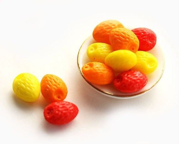Bright Czech Glass beads mix in almond shape - yellow, red, orange beads for DIY projects, food jewelry making - 12x09mm - 12Pc - 0165