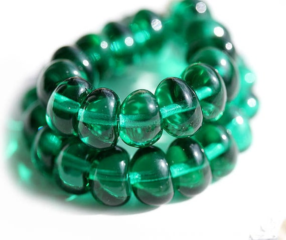 Teal green spacers, Czech Glass beads, puffy rondelle, ocean color, stone shape, organic - 8x6mm - 20Pc - 0174