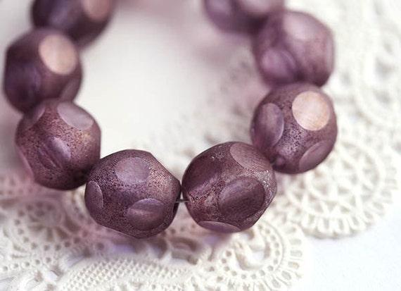 10mm Dusty purple violet glass beads, czech round beads, fire polished, round cut, purple beads - 10Pc - 1792