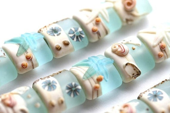 Blue Lampwork beads, Beachy, Sea glass - SRA, by MayaHoney