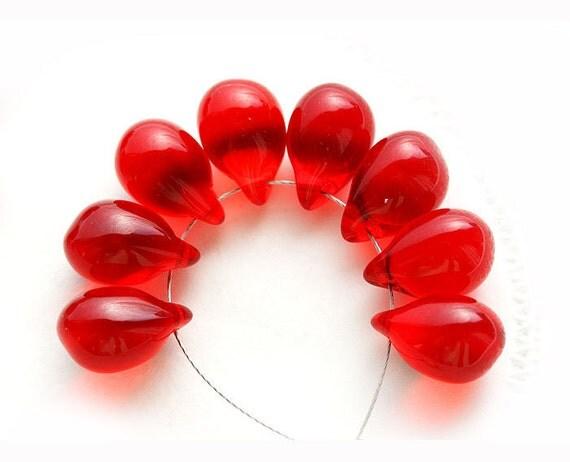 Scarlet red Teardrop czech glass Briolettes, Christmas - 10x14mm - 8Pc - 0196