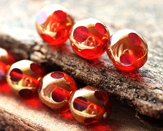 10mm Round Cut Red beads, Copper luster, czech glass fire polished beads - 8Pc - 0246