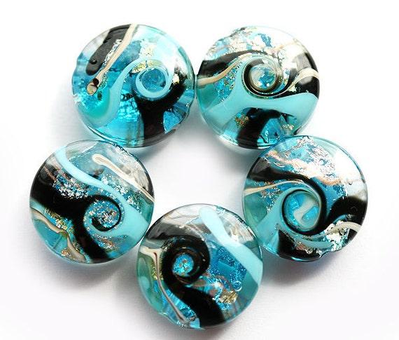 Sparkling blue handmade Glass lampwork beads -  SRA set by MayaHoney