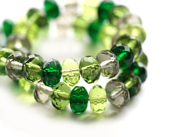 Green Czech glass beads mix, jewelry making, Green rondelle spacers, rondels, gemstone cut - 4x7mm - 25Pc - 0290