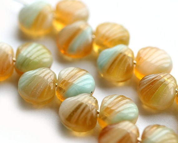 20pc Czech Glass Shell beads, Amber yellow and blue mixed color pressed bead, 9mm - 1982