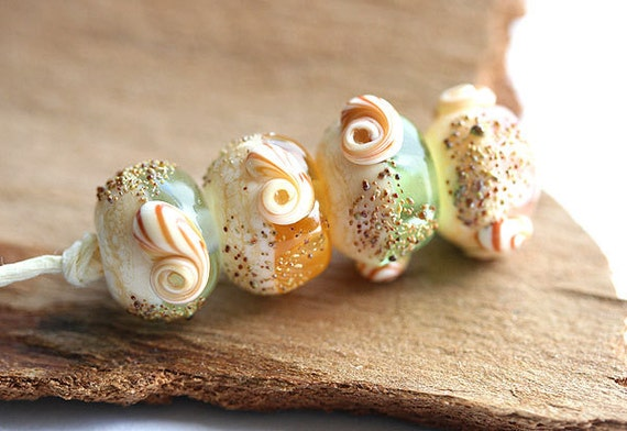 Beach handmade lampwork glass beads set - organic shape - SRA, by MayaHoney - shells, sand