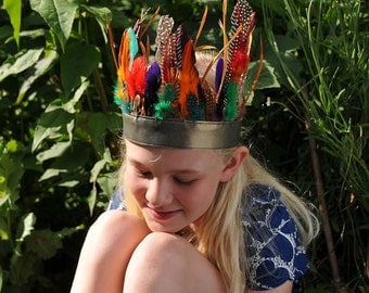 "feather headdress.... ""rainbow"" headband"
