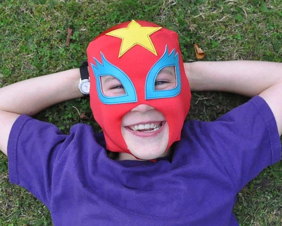 "Hallowen superhero mask... ""Glam-Rock Mask""  (red)"