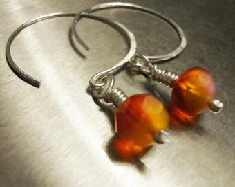 Sterling Silver Open Hoops - Persimmon Czech Glass Hoops - Light Earrings