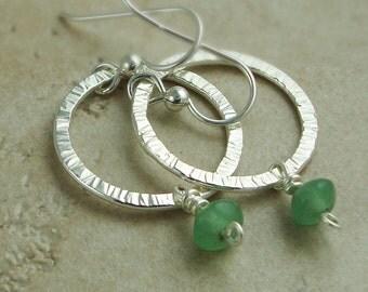 Small Silver Hoop Earrings - Sterling Silver Hoops - Green Aventurine Gemstone Earrings