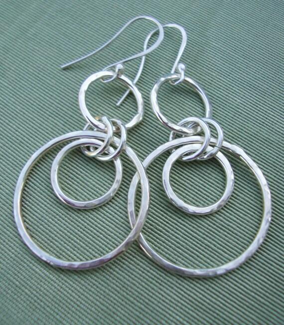 Silver Hoop Earrings - Sterling Silver Hoops - Dangle Earrings - Swinging Hoop Earrings - Handmade Jewelry - eco friendly jewelry