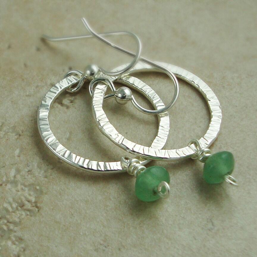 small silver hoop earrings sterling silver hoops green. Black Bedroom Furniture Sets. Home Design Ideas