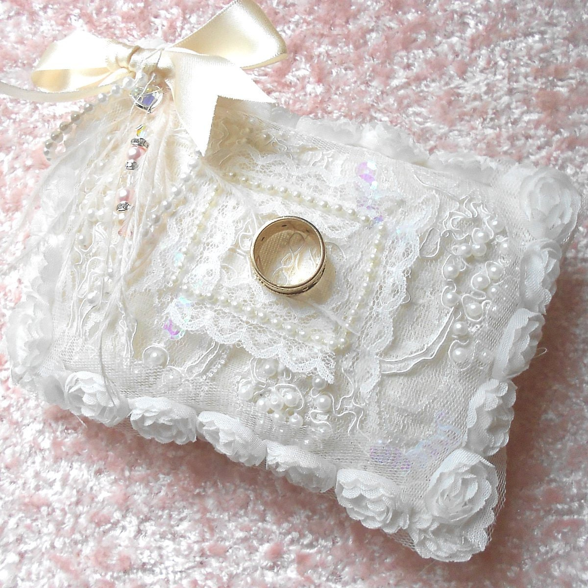 Shabby Chic Wedding Ring Pillow Cushion by barbie57 on Etsy