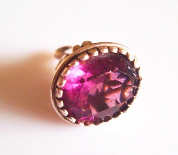 Vintage Silver Violet Crystal Fob Charm