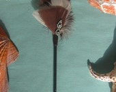 Brown and Cream Color Feather Hair Stick with Vintage Rhinestone Pendant