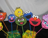 Sesame Street Party Centerpiece Character Picks 8 pieces