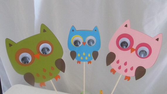 Owl Birthday Party Centerpiece Picks 6 pieces