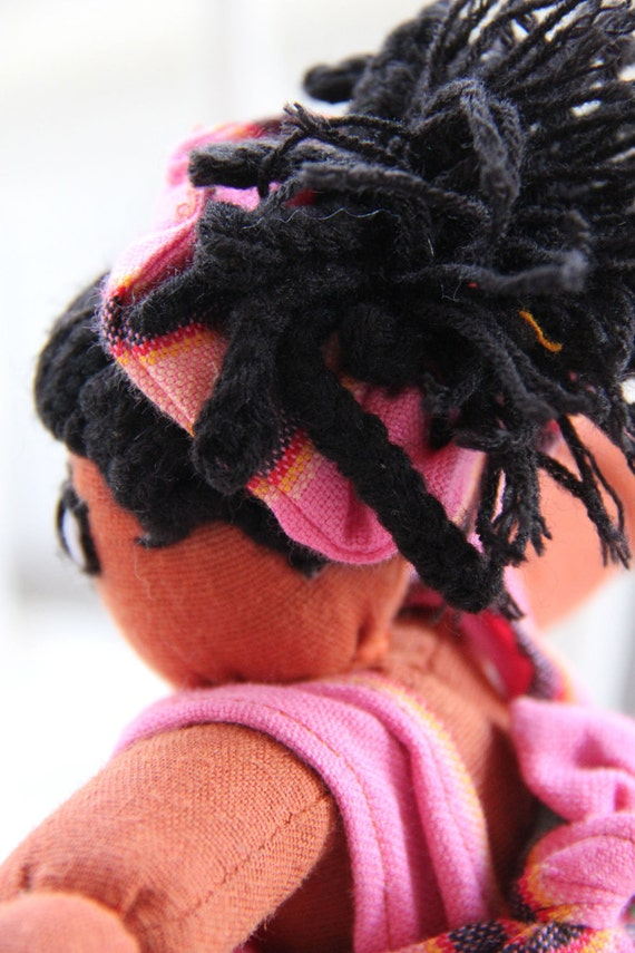 Agatha Girl Doll in Pink with Stripes from Kenya - Purchase Benefits Adoption