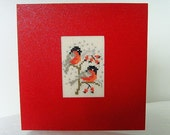 Cross stitch card red robins