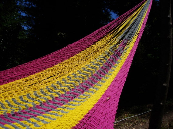 Pink Gray Yellow hammock,Mexican inter-looping, Family size