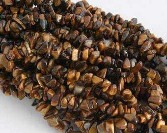 Tigereye(natural)  Chip Beads Strand, 32 Inch Strand (G01067)