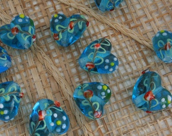 12 pcs Blue Heart With Deco Lampwork Glass Beads