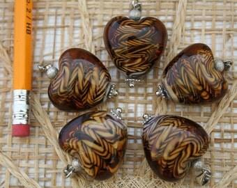 Animal Print Heart Lampwork Glass Bead/Pendant/Charm(Pack of 2 beads)