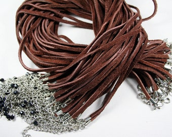 """50pcs 18"""" Brown Flocking Necklace Cord Lobster Clasp 2"""" Extension Chain"""
