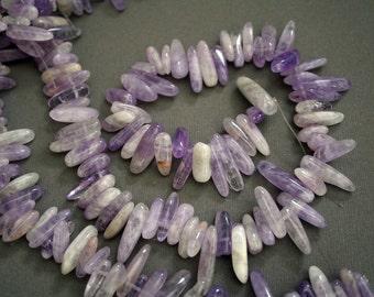 Natural Purple Jade Stick Beads, 16 Inch Strand G01021