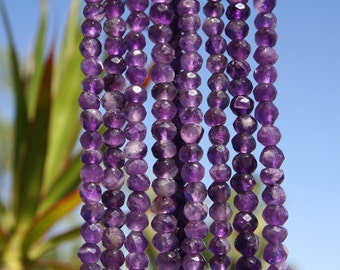 Amethyst(natural) 6mm Faceted Round Beads Strand, 16 Inch Strand(G01073)