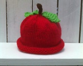Apple Hat adorable hand knit Red apple hat for baby and toddlers