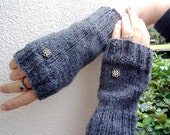Fingerless Gloves for Women Hand knit Gray wool  texting mitts wrist warmers