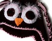 Owl Hat Brown and Pink ear flap hat hand knit  Photo Prop winter hat