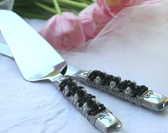 Black Beaded Wedding Cake Serving Set TABLE SETTING, Couture, bridal gift, anniversary, birthday, special occasion, knife set, reception