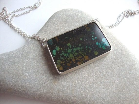 Turquoise and Cracked Silver Necklace