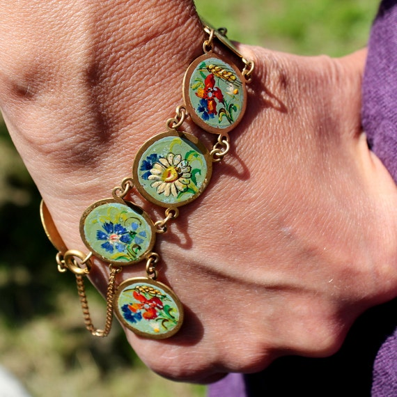 Vintage French Bracelet    Hand Paint 1930s Floral Jewelry Cute