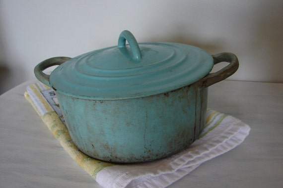 Vintage Antique Robins Egg Blue Cast Iron Pot and Lid