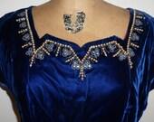 Blue Velvet Vintage Dress 1930s GORGEOUS