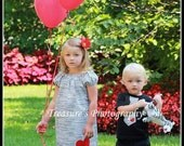 Brother/Sister MATCHING SET ... Black and White Stripe Dress & Matching Tie Tshirt