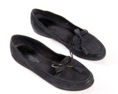 Women's Calvin Klein Black Leather Tassel Loafers and Moc Toe Stitch for Women's size 6 1/2