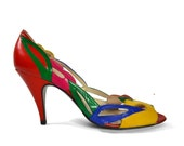 Women's Spring Fling Peep Toe Heels with Cut Out Floral Pattern in Vibrant Colors from Paradox by Zalo for size 7 1/2