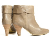 High Heel Cuffed Ankle Booties Beige Adorned with Gold Buttons for size 7 1/2