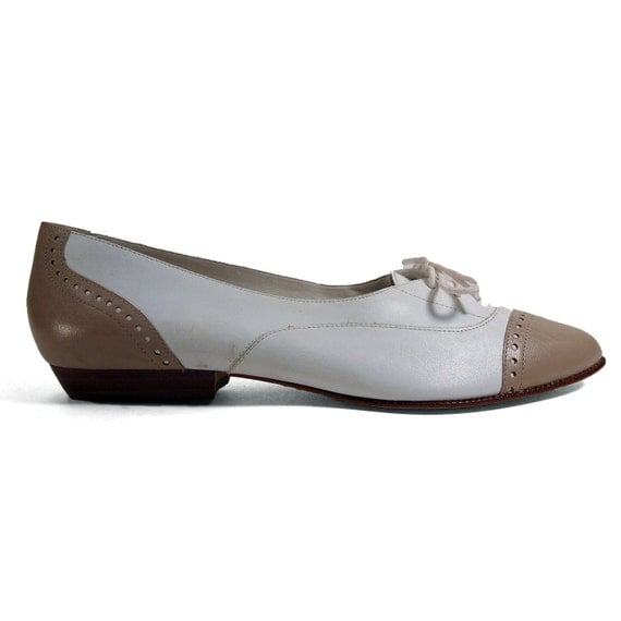 Women's Spectator Shoes in a Low Cut Oxford with Perforated Details in