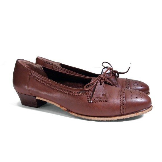 Kitten Heel Brogue Oxfords in Chocolate Brown with Beeswax Soles for size 8