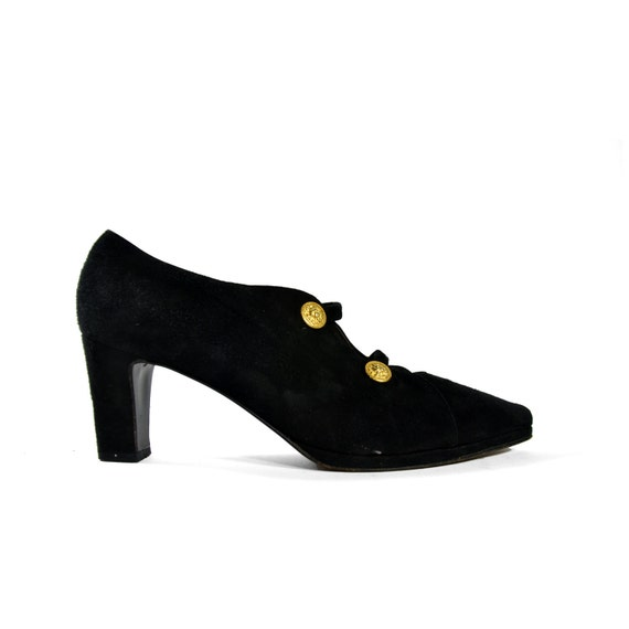 Women's Vintage Prevata Shoes / Ankle Booties in Black Suede with Lion Head Gold Buttons for size 8 1/2 Narrow