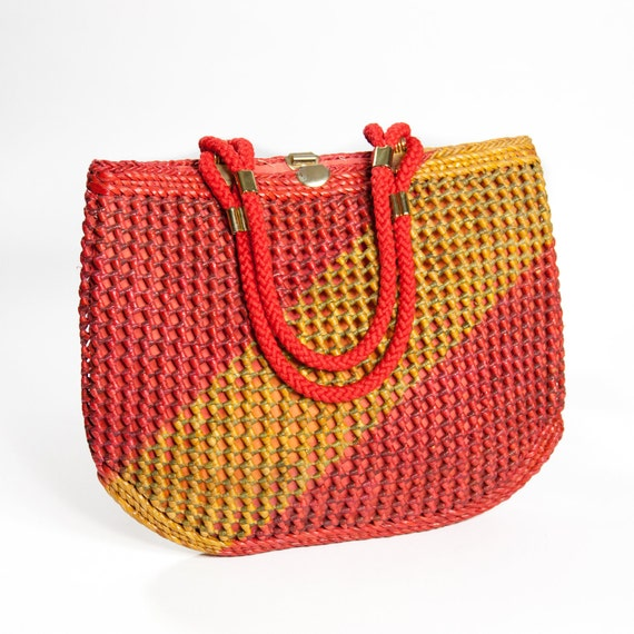 Woven  Bright Summer Purse / Bag Red and Yellow Straw Bag with Rope Handles / Summer Tote Bag