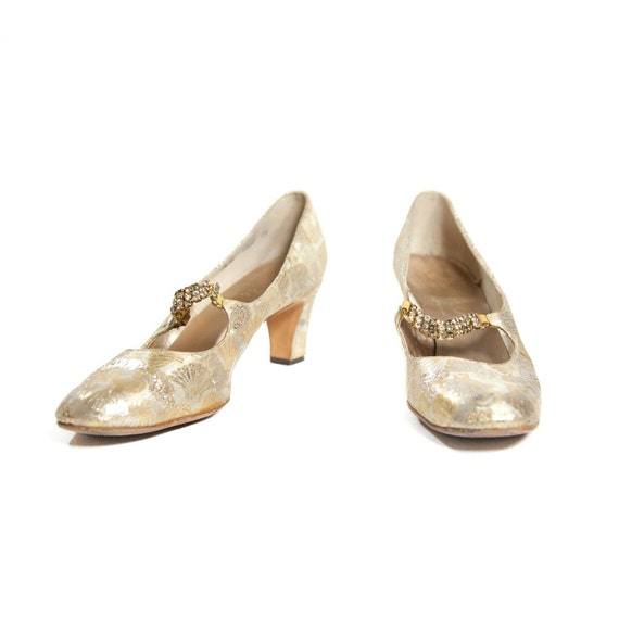 Vintage 1960's Brocade Metallic Gold and Silver Pumps with Paisley Style Print and Jeweled Straps for Women's size 8 1/2 Narrow
