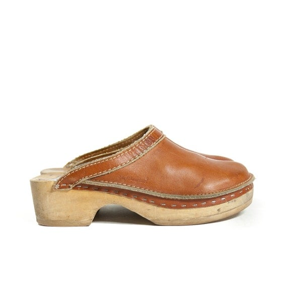 Brown Leather and Wooden Clogs by Olof' Daughters for Women's size 7 - 7 1/2